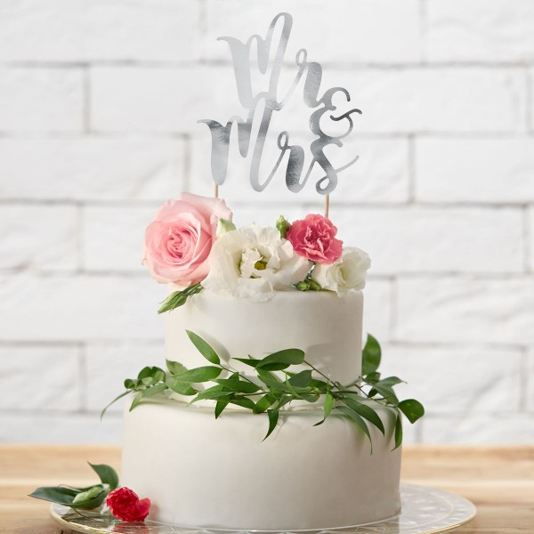 "PartyDeco - Cake Topper ""Mr & Mrs ""- Schwartz"