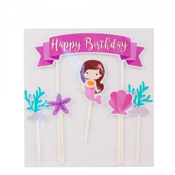 PartyDeco - Cake Topper Happy Birtday - Schwartz