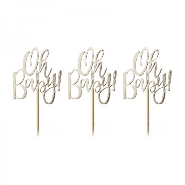 Ginger Ray Cupcake Topper - Oh Baby! - Schriftzug - Goldfolie - 7 x 7 cm - 12-teilig