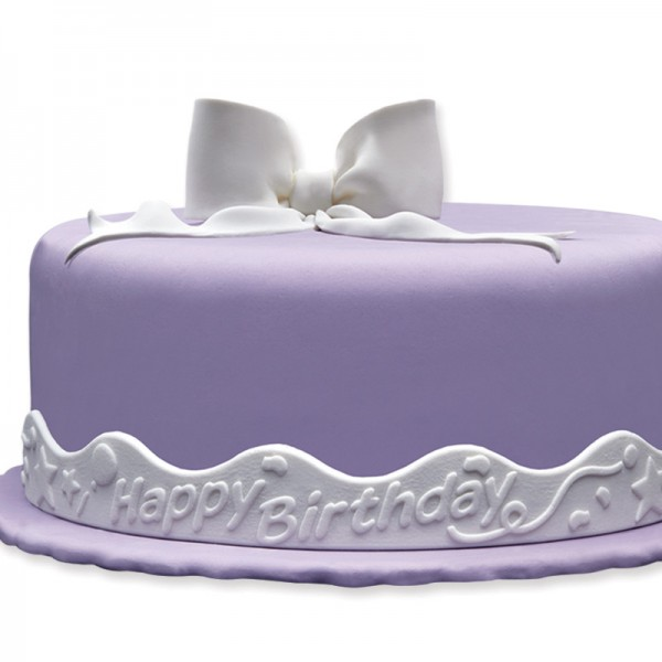 "Fondant-Bordüre ""Happy Birthday"" - Weiß, 5 cm hoch, 125 cm lang"