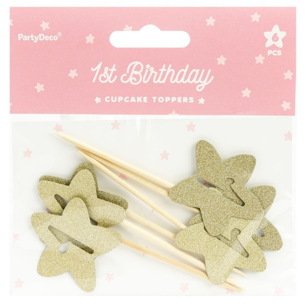 PartyDeco - Cupcake topper 1 Gold Stern 6 Teilig