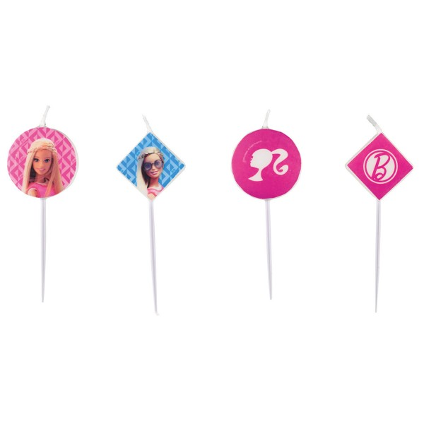 4 Mini-Figurenkerzen Barbie Sparkle