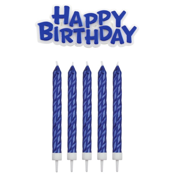 PME Kerzen-Set - Happy Birthday - Blau - 16 Kerzen