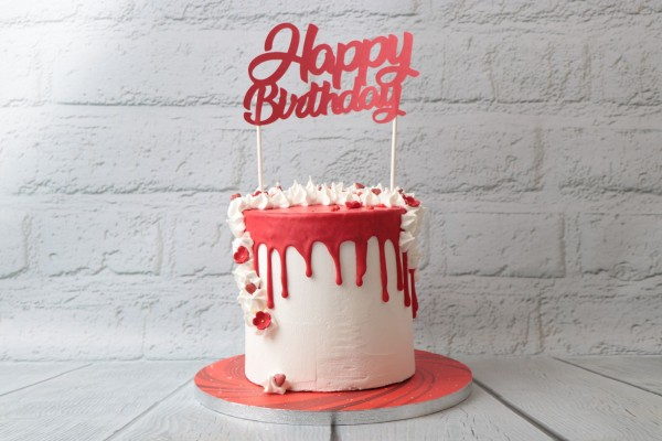 "TB - Cake Decoration - Topper ""Happy Birthday"" - Rot"