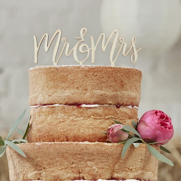 Ginger Ray - Cake Topper aus Holz - Mr & Mrs - Boho