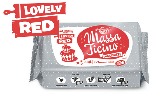 Massa Ticino  - Lovely Red  - Rollfondant 250 g - AZO frei