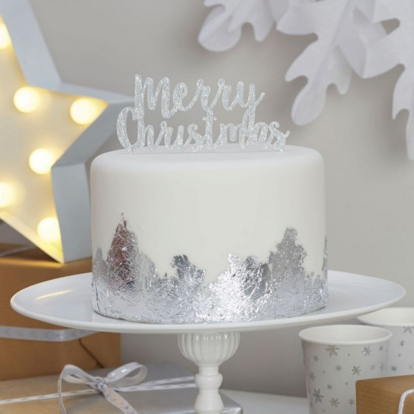 Ginger Ray - Cake Topper  - Merry Christmas - Silber