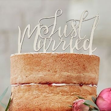 Ginger Ray - Just Married - Cake Topper aus Holz