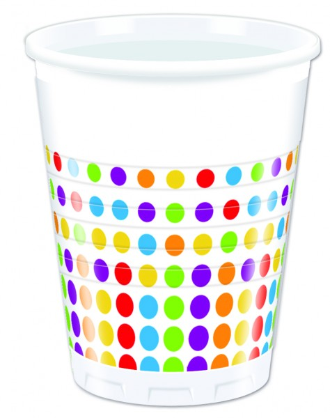 Bright Color Dots - Bunte Punkte - Becher 200 ml - 8 Stück
