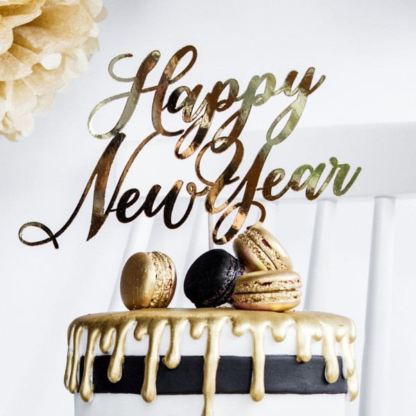 PartyDeco - Cake Topper Happy New jahr - Gold
