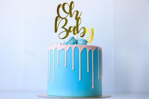 """Cake Topper """"Oh Baby """"- Gold"""