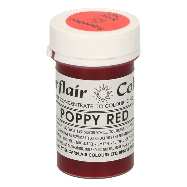 Sugarflair Pastenfarbe - Poppy Red - Rot - 25 g
