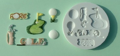 Alphabet Moulds Silikonmould - Golfschläger, Golfball und andere Motive - Golf Mould