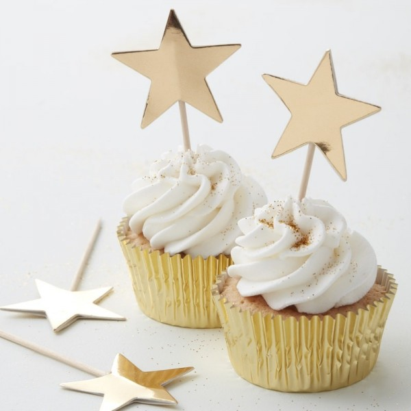 Ginger Ray - Stern Cupcake Toppers - Gold - 10 Stück