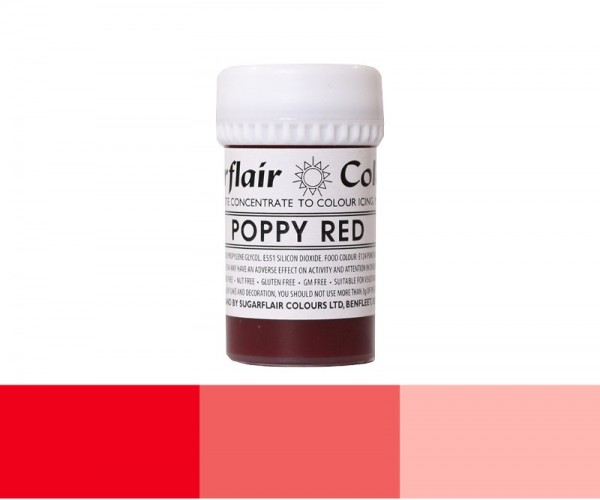 Sugarflair Pastenfarbe - Poppy Red - Rot - 25 g Lebensmittelfarbe