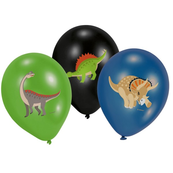 6 Latexballons Happy Dinosaurier - 28 cm