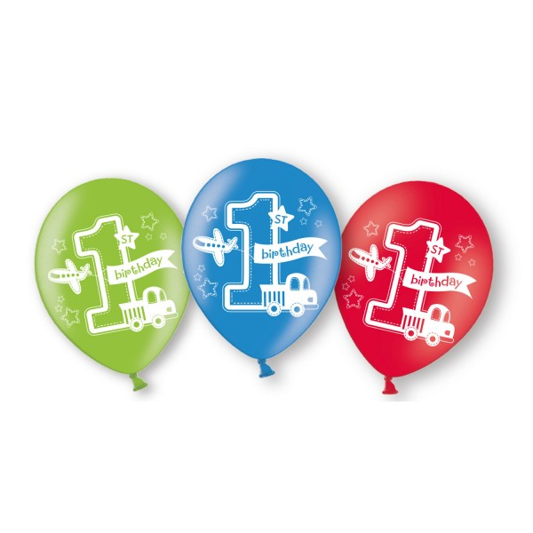 6 Latexballons All Aboard Birthday Globaldruck