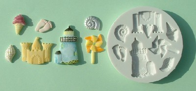 Alphabet Moulds Silikonmould - Leuchtturm und Strandsachen - Seaside Mould
