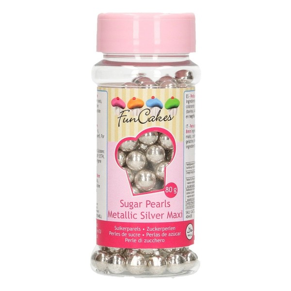 FunCakes - Zuckerperlen  Metallic Silver 8mm