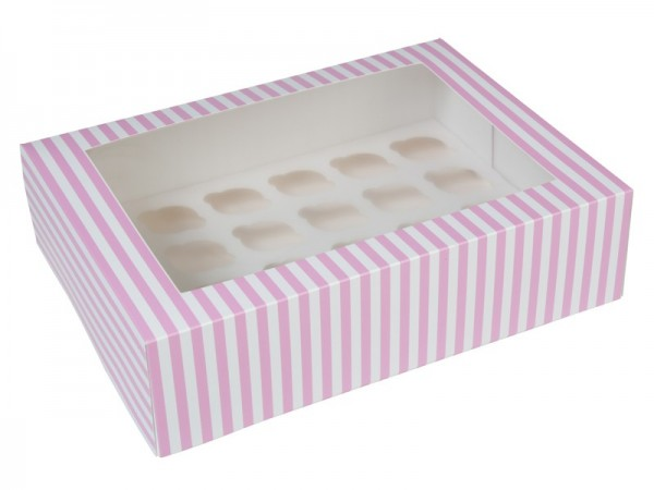 HOM mini CupcakeBox 24 er - Rosa/Weiß