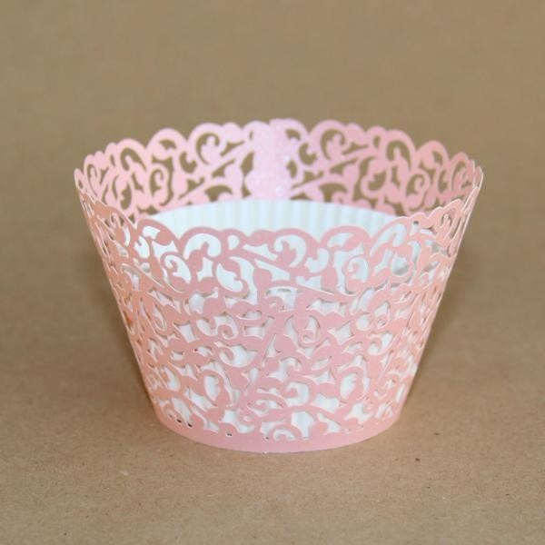 Miss Bakery House Cupcake Wrapper - Manschetten - Filigrane Rosa- 12 Stück