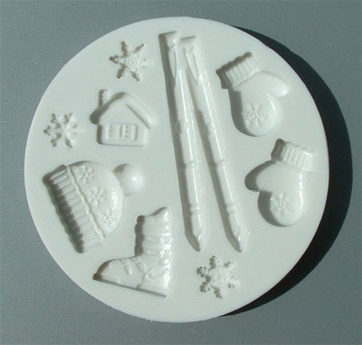 Alphabet Moulds Silikonmould - Ski Motiven