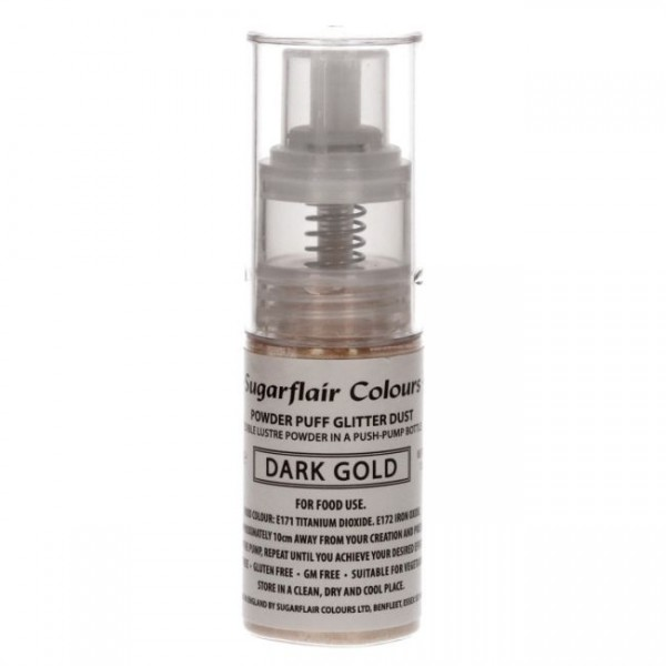 Sugarflair - Glitzer Pump Spray - Dark Gold - 10 g - Glitter Dust