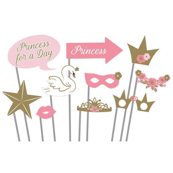 Amscan Princess for a Day - Photo Booth Kit - 10-teilig