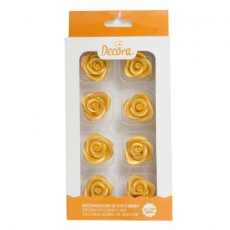 Decora - Zuckerdekoration -  Rosen - gold - medium