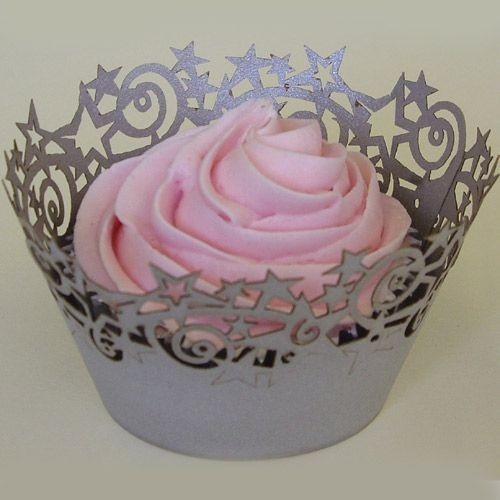 PME - Cupcake Wrappers - Silver Sterne 12 Stück