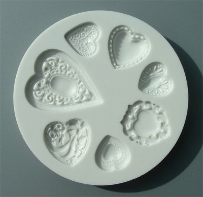 Alphabet Moulds Silikonmould - Herzen mit Muster