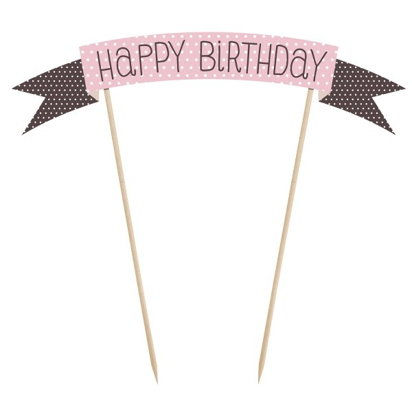 "PartyDeco - Cake Topper Klein ""Happy Birtday """