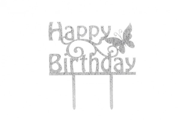 "Cake Topper ""Happy Birthday"" Silber - Acryl"