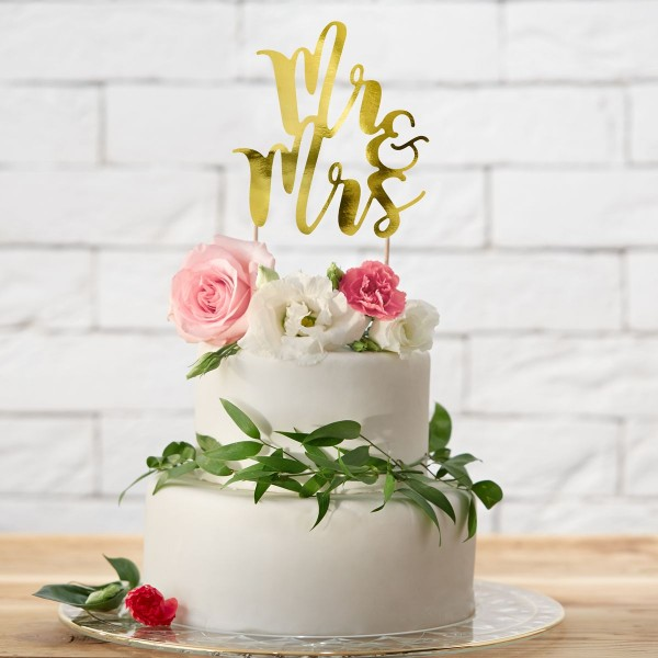 "PartyDeco - Cake Topper "" Mr & Mrs ""- Gold"
