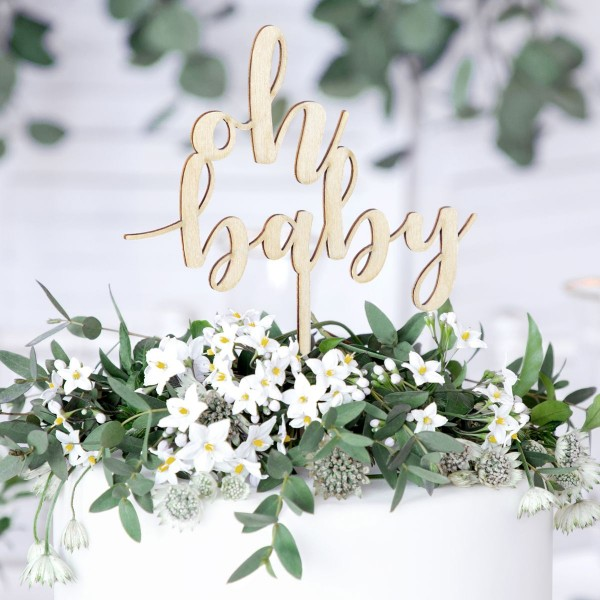Partydeko - Oh Baby - Cake Topper aus Holz