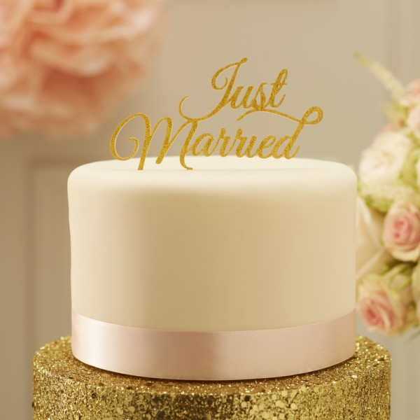 Ginger Ray - Just Married - Cake Topper - Gold