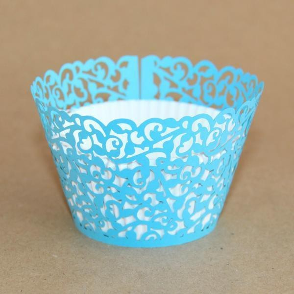 Miss Bakery House Cupcake Wrapper -  Filigrane Hellblau- 12 Stück