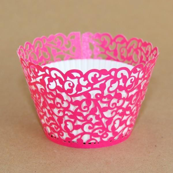 Miss Bakery House Cupcake Wrapper - Manschetten - Filigrane Pink- 12 Stück