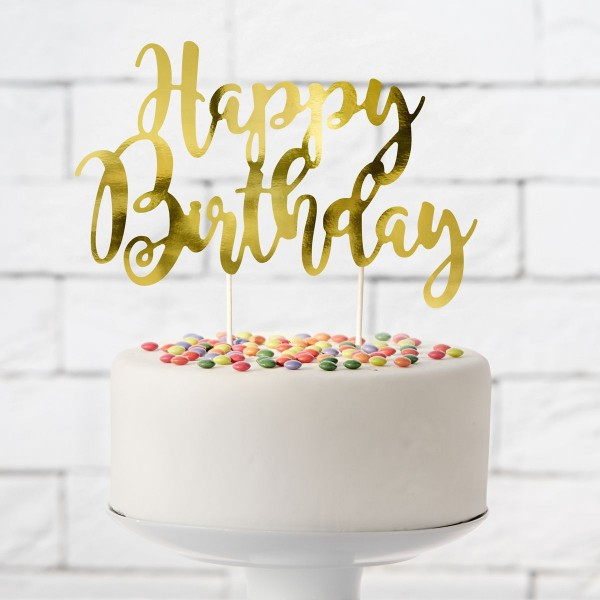 "PartyDeco - Cake Topper ""Happy Birtday ""- Gold"