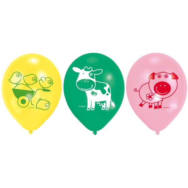 6 Latex Balloons Farm Fun 22,8 cm/9""