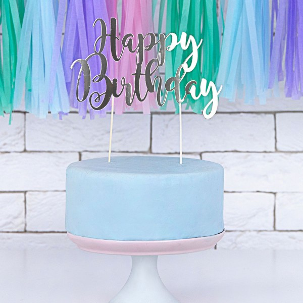 "PartyDeco - Cake Topper ""Happy Birtday ""- Silver"