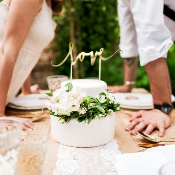 """PartyDeco - Cake Topper """"Love """"- Gold"""