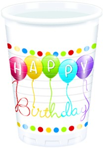 Happy Birthday - Becher 200 ml - 8 Stück