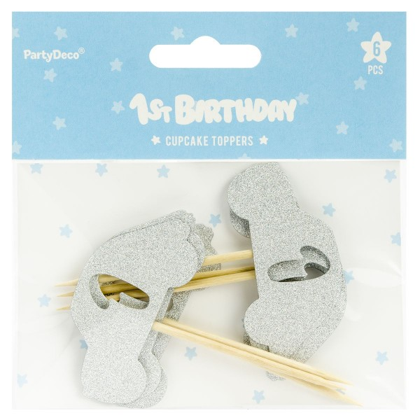 PartyDeco - Cupcake topper 1 Silber auto 6 Teilig