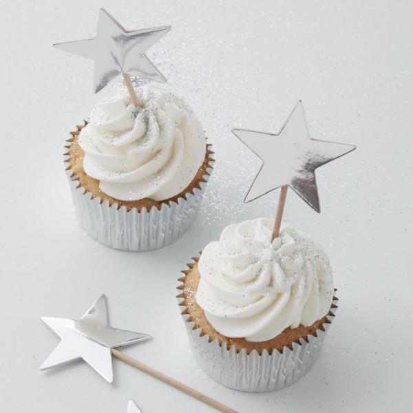 Ginger Ray - Stern Cupcake Toppers - Silber - 10 Stück