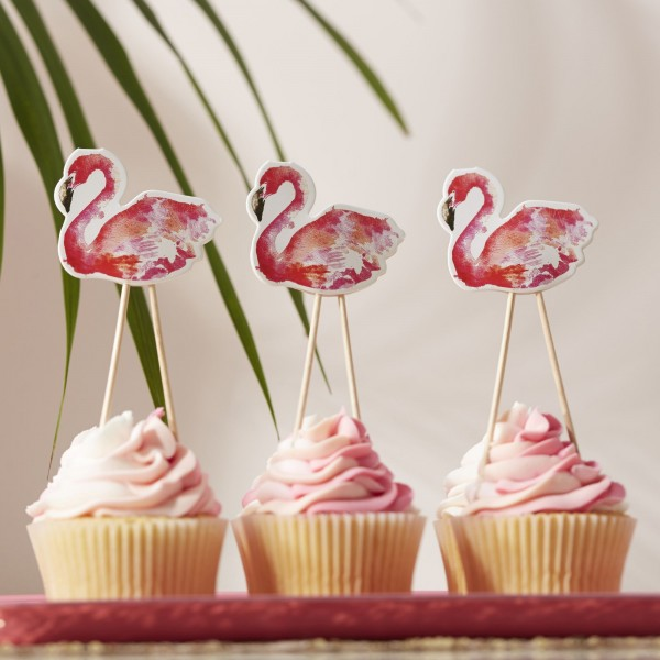 Ginger Ray - Flamingo Cupcake Toppers - 8 Stück