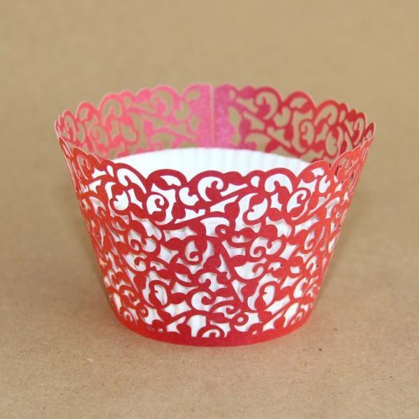 Miss Bakery House Cupcake Wrapper - Filigrane Rot- 12 Stück