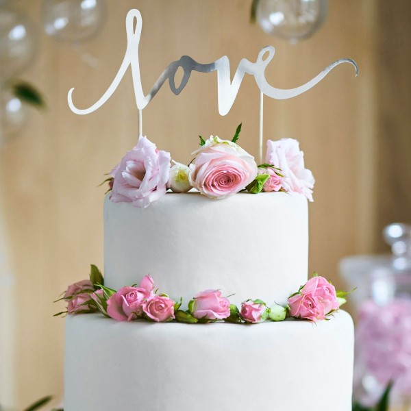 """PartyDeco - Cake Topper """"Love """"- Silber"""